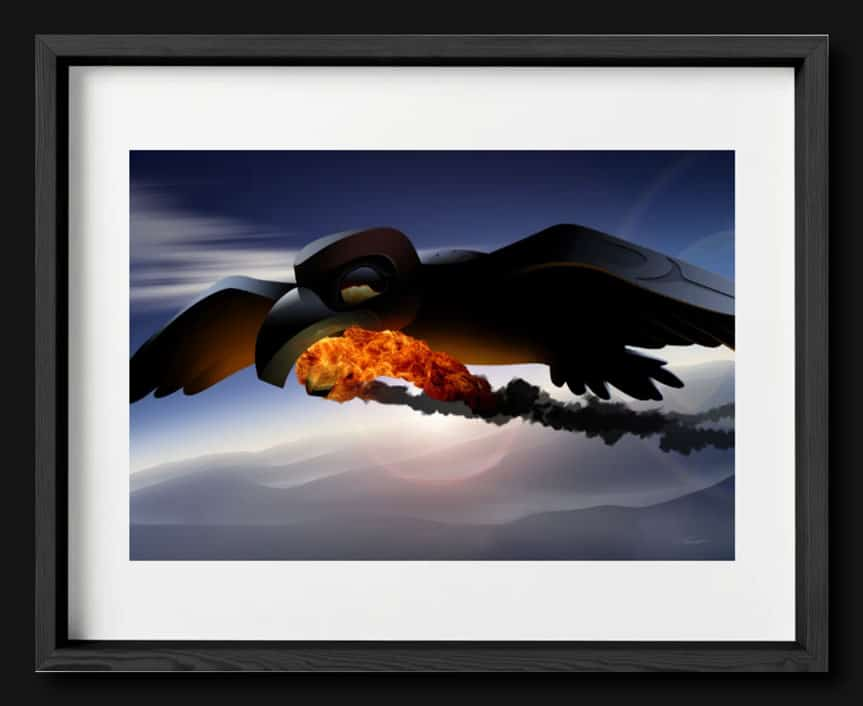 A framed print of Raven Steals Fire from the Sun.
