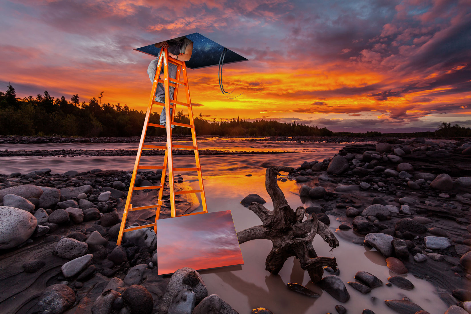 Sunset Ladder after retouching